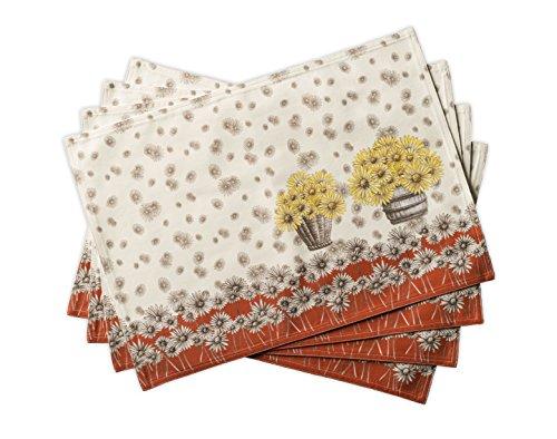 Maison d' Hermine Bagatelle - Juego de 4 manteles individuales para mesa de comedor (100% algodón, 33 cm x 48 cm)