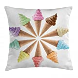 ice cream bar couch - Ambesonne Ice Cream Throw Pillow Cushion Cover, Cones with Various Flavors Forming Row Summer Season Picture Print, Decorative Square Accent Pillow Case, 18