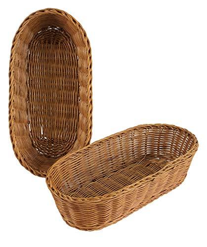 Cestas tejidas de mimbre para servir pan, frutas, verduras, restaurantes y mesas (ovaladas de 35,5 cm (2 unidades)