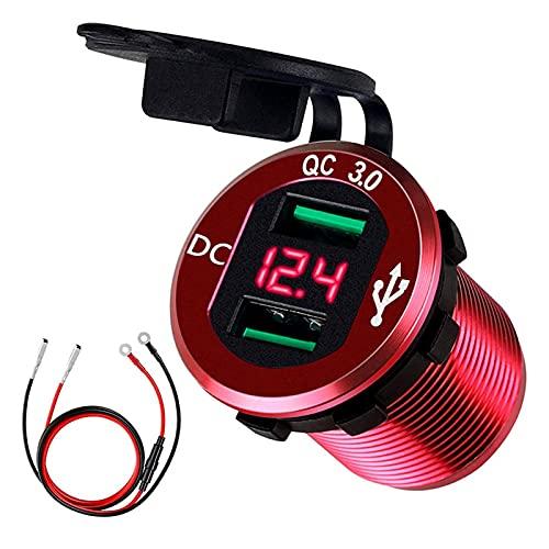 RJJX Carga RÁPIDA 3.0 Dual USB Cargador de Cargador Outlet Cargador de Aluminio Digital Pantalla de Voltaje a Prueba de Agua para Motocicleta de 12V / 24V Coche (Color Name : Red)