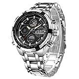 Orologio sportivo digitale al quarzo, analogico, da uomo, cronografo con grande quadrante, in acciaio INOX, orologio da polso impermeabile