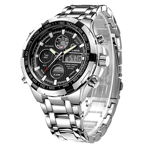 GOLDEN HOUR Luxury Stainless Steel Analog Digital Watches for Men Male Outdoor Sport Waterproof Big Heavy Wristwatch (Silver Black)