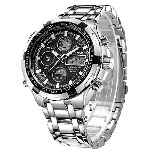 Luxuriöse, Digitale Analog-Uhr aus Vollstahl für Herren mit LED-Anzeige, für draußen, sportliche Militärarmbanduhr in silberfarben, schwarz
