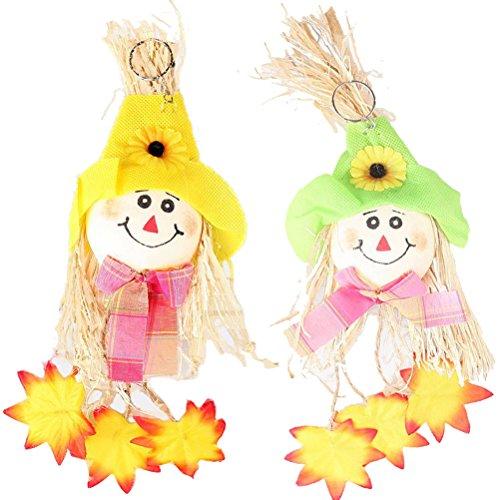 Abaodam 2Pcs Pumpkin Doll Pendant Scarecrow Hanging Ornaments Halloween Party Favors Supplies Decorations Prop (Random Style)