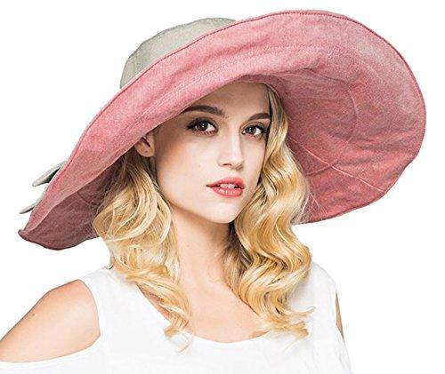 Elonglin Femme Double-Face Capeline Bord Large étanche Anti-UV Chapeau de Plage avec Nœud Pilable Respirant pour Voyager Randonnée en Coton Rose
