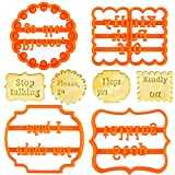 4PCS Cookie Molds with Good Wishes, Funny Cookie Cutters Adult, Cookie Molds Set with Rude Sayings Words for Baking