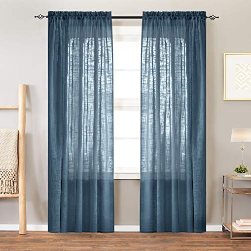 Sheer Curtain Panels for Bedroom Curtain Rod Pocket Linen Like Textured Window Curtains 84 inches Long (2 panels, Navy Blue)