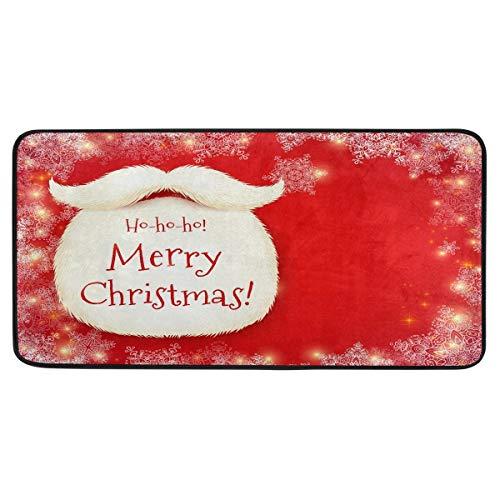 Mnsruu Tapis de cuisine antidérapant avec motif de barbe du Père Noël pour entrée, couloir, salle de bain, salon, chambre à coucher 99,1 x 50,8 cm