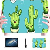 Laptop Macbook Pro Pattern Cute Kawaii Cactus Succulents Plastic Hard Shell Compatible Mac Macbook Pro 2017 Accesorios Accesorios de protección para Macbook con Alfombrilla de ratón