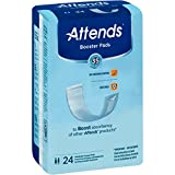 Attends Booster Pads with Odor Shield Technology for Adult Incontinence Care, Unisex, 24 Count (Pack of 8)