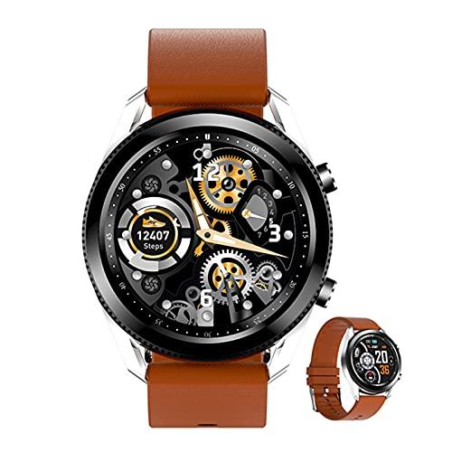 BNMY Smartwatch da 1,28 pollici con schermo tattile, fitness tracker con cardiofrequenzimetro, impermeabile IP68, orologio sportivo con Bluetooth, per uomo e donna, per Android Ios, marrone
