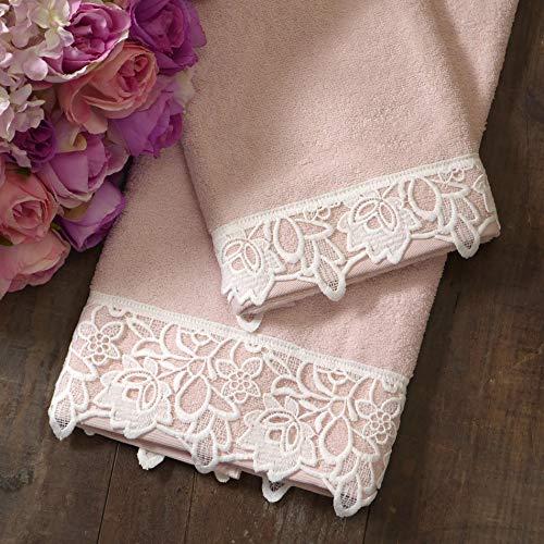 GLShabby Coppia di Asciugamani Shabby Chic con Bordo di Pizzo Colore Rosa Cipria/off White
