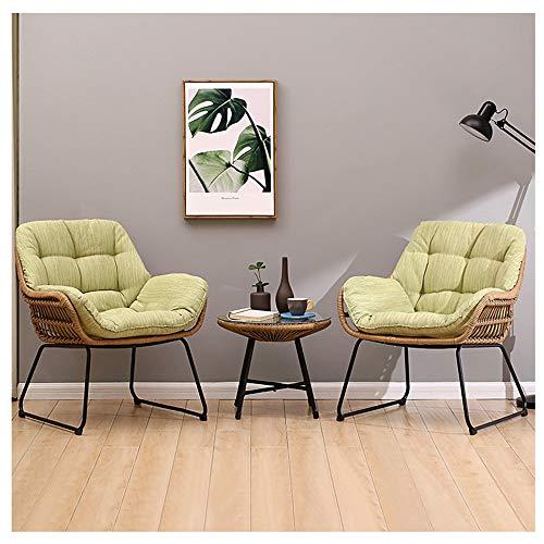 H-ei Sofá Lazy Cozy Verde Claro Silla de ratán cómoda Dormitorio Balcón Siesta Ocio Sofá pequeño se Puede Combinar con 69.5 × 71.5cm (Size : B(2*Sofa+Small Coffee Table))