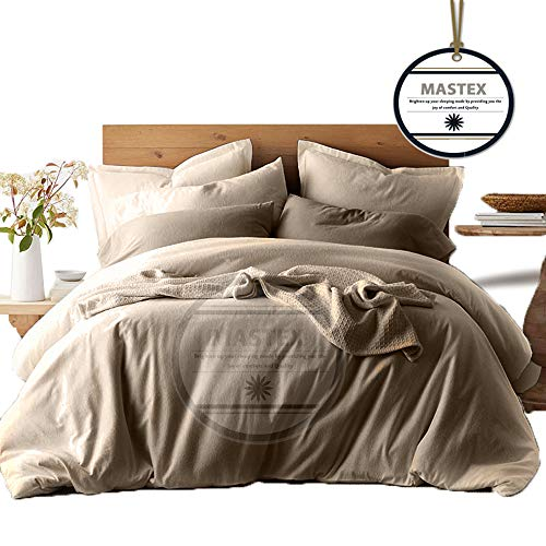 Plain Flannelette Duvet Cover & Pillowcase 100% Brushed Cotton Royal Collection Quilt Sets With Matching Pillow Cases Super Soft Natural (Taupe - King) 220 x 230 cm