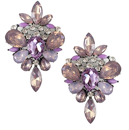 Very Large Art Deco Antique Vintage Style Lavender Lilac Purple Amethyst Rhinestone Bridal Bridesmaid Wedding Prom Pageant Statement Cluster Earrings