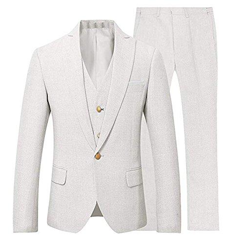 3 Pieces Summer Linen Men Suits Groom Tuxedo Casual Linen Seersucker Suit Mens White