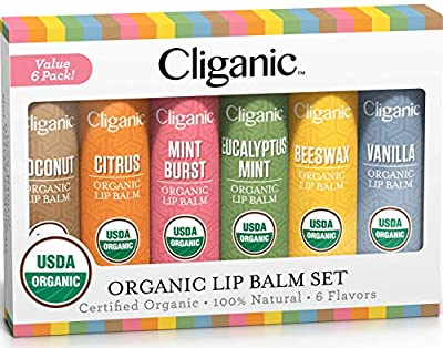 Cliganic USDA Organic Lip Balm Set - Assorted Flavors - 100% Natural Lip Butter Chapstick for Cracked & Dry Lips