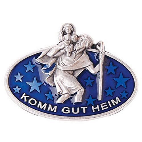 MaMeMi Christophorus Autoplakette oval 4,5 cm blau