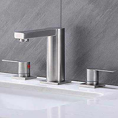 Ufaucet Modern Commercial 2 Handle 3 Holes Widespread Stainless Steel Brushed Nickel Bathroom Faucet, Lavatory Sink Faucet with Supply Hoses and Pop-Up Drain