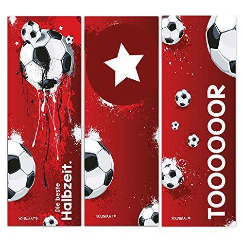 younikat 12er Set Fußball-Lesezeichen I 3 Coole Motive I für Kinder Jungen I Einschulung Schulanfang Schultüte I dv_648