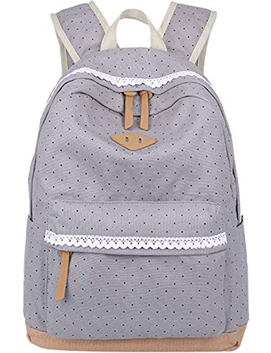 Leichte Schulrucksack mit Polka Dots Nette Canvas Schultaschen Damen Mädchen EXTRA Groß Kinderrucksack Daypacks Rucksäcke Modische mit Laptop Fach 33 * 45 * 17 cm – Little Princess (Grau)