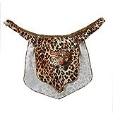 ranrann Men's Halloween Jungle Man Leopard Animal Printed Costume G-String Thongs Briefs Underwear Brown Large