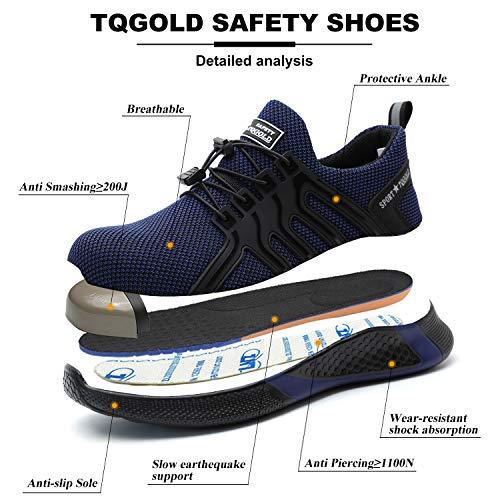 TQGOLD Scarpe da Lavoro Uomo Donna S3 Antinfortunistica Scarpe Sportive di Sicurezza con Punta in Acciaio Blu Velluto 42
