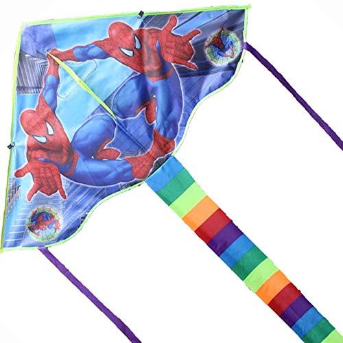 Cometa para niños Cometa Spiderman Batman Flying Kite con manija y línea Cometa para niños, Spiderman