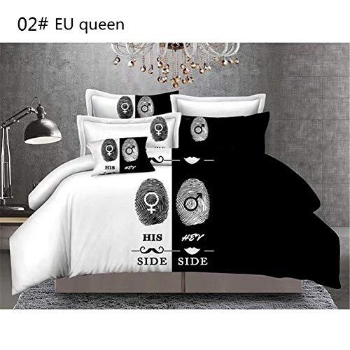 Set copripiumino dream-cool Fashion Style Funny Bedding bianco e nero degli amanti della coppia Mr and Mrs 3pcs set di biancheria da letto in cotone trapunta Covers, #02#, EUqueen