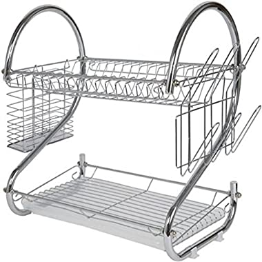 2-Tier Chrome Plating Iron Dish Drying Rack Utensil Holder with Drain Board, Chrome 17L x 9.25W x 10.5H Inches