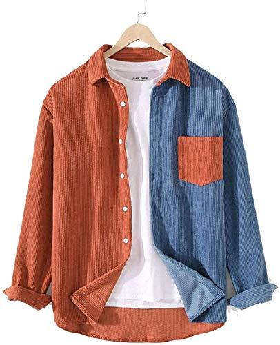 AAQQ Herren Patchwork Cord Shirt, Herren Revers Knopf Knopf Hemd, lässige und lockere individuelle Manteltasche, Freund und Ehemann.-Orange_XL