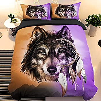 Wolf Dream Catcher Duvet Cover Set 3 Pieces Soft Tribal Wolf Comforter Cover with 2 Pillow Shams Microfiber Bedding Duvet Cover with Zipper Closure Gold and Purple Queen 90 x90