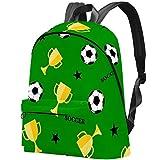 Fußball- und Siegerpokal-Fußballmuster Bag Teens Student Bookbag Leichte Umhängetaschen Reiserucksack Tägliche Rucksäcke