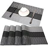 Set de Table Famibay Pour Table de Cuisine Lot de 4 TissÉ en PVC Set de Table Noir 45cm*30cm