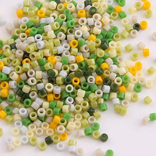 Taidian 5 gramos 11/0 mezcla de cuentas verdes de Japón cuentas delicadas de cristal para joyería g DIY 1,6x1,3mm cuentas espaciadoras Perles-DB Multi 22