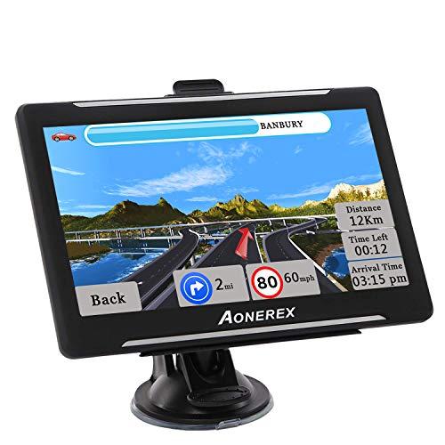 Aonerex GPS Navi Navigation für Auto LKW PKW KFZ 7 Zoll Navigationsgerät mit Blitzerwarnung POI Sprachführung Fahrspur Lebenslang Kostenloses Kartenupdate Neueste UK Europa 52 Karten