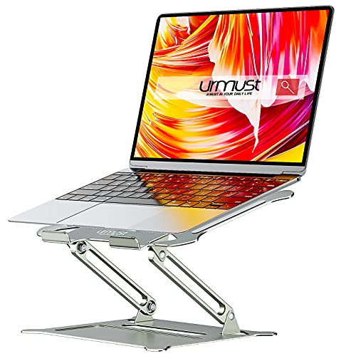 Urmust Laptop Notebook Stand Holder, Ergonomic Adjustable Ultrabook Stand Riser Portable with Mouse Pad Compatible with MacBook Air Pro, Dell, HP, Lenovo Light Weight Aluminum Up to 15.6'(Gray)