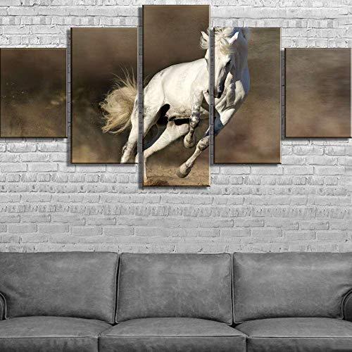 Ingelijste Prints op Doek, Vijf Canvas Hd Afdrukken Wit Paard Poster Landschap Art Mural Familie Decoratie Kamer Schilderij Kamer Houten frame, 100x55cm Eén maat 30x40cmx2 30x60cmx2 30x80cmx1