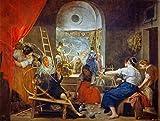 Kunst für Alle Impresión artística/Póster: Diego Rodriguez de Silva y Velazquez The Spinners or The Fable of Arachne 1657' - Impresión, Foto, póster artístico, 65x50 cm