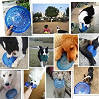 New Pet Flying Saucer TPR Soft Dogs Interactive Toy Training Chew Dog Toys Outdoor Emergency Pets Bowl-Blue_M