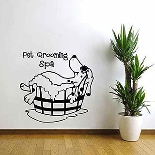 Pet Grooming Wall Decal Puppy Pet Shop Wall Decor Dog Grooming Spa Salon Vinyl Art Sticker (Black,s)