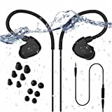 Avantree [New] Secure Fit Underwater Waterproof Earbuds for Swimming, Wired Sports Headphones for Gym Running Diving Surfing, IPX7, Short Cord with Ear Hook and 6 Pair Soft Earphones Tips