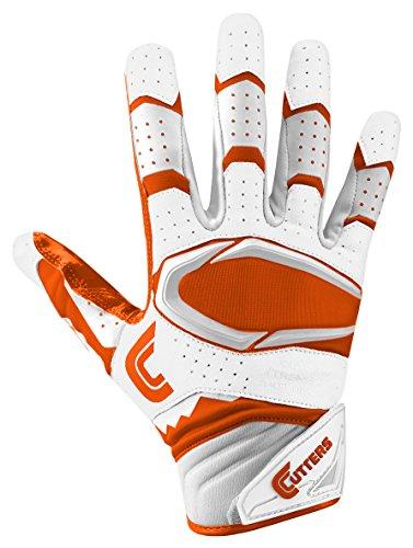 Cutters Gloves Rev Pro 2.0 Receiver Football Gloves, White/Orange, Medium