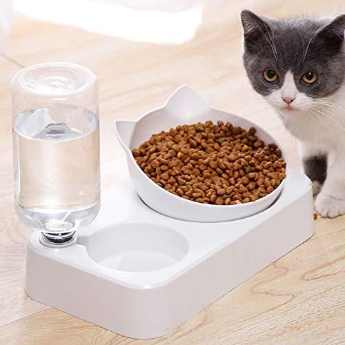 Set di ciotole per acqua e cibo,Distributore automatico di acqua per animali domestici con ciotola di cibo,Set di ciotole doppie per cani di taglia piccola o media