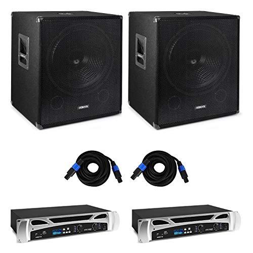 Vonyx Bass Storm – Equipo para DJ de PA, 2 amplificadores de PA: 2 x 500 W, 2 x Altavoces de 2 vías: 15