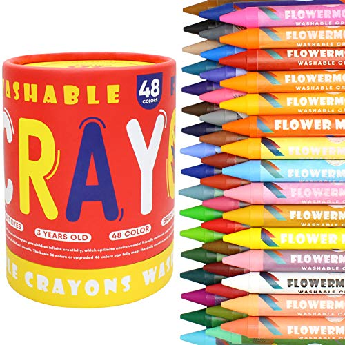 Large Crayons for Kids Ages 2-4, 48 Colors Nontoxic Crayons for Toddlers, Easy to Hold Washable Toddler Crayons, Safe for Babies, Kids and Children Flower Monaco