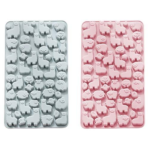 TOPBATHY 2 moldes de silicona de alpaca para fondant de alpaca, moldes de silicona antiadherentes, moldes para tartas, chocolate, jabones, magdalenas, mousse, cubitos de hielo