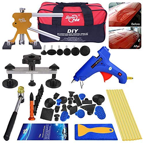 Fly5D Paintless Dellen Reparatur Auto, Ausbeulwerkzeug Set, Dellen Reparatur T-Zugwerkzeug und Ding Brücke, Abzieherlaschen Reparatur Kit Auto Körper Dent Remover Dent Repair Kit