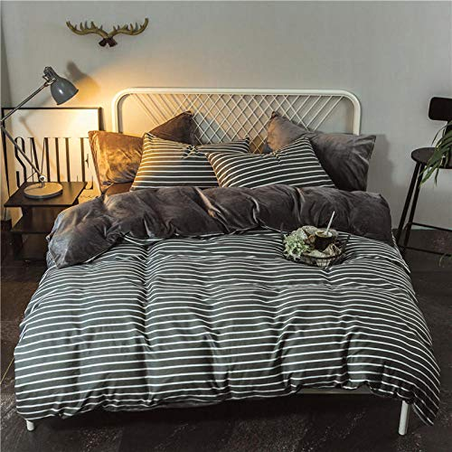 Shinon king size duvet covers,Winter warm plus velvet pure cotton leopard print quilt cover black and white crystal velvet bed sheet duvet cover four-piece pillowcase-J_2.0m bed (4 pieces)