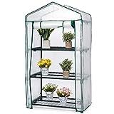 Bramble - Invernadero Pequeño de 3 Niveles - Plástico para invernadero de Jardinería con Estantes de Alambre, 69x49x125cm / Ideal como Invernadero Terraza